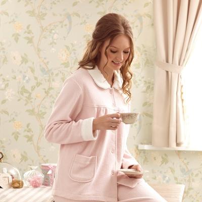 羅絲美睡衣 - 暖暖棉羊布長袖褲裝睡衣 (甜美粉)
