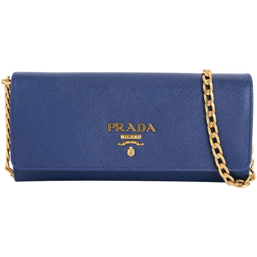 (無卡分期12期) PRADA Saffiano 金字浮刻LOGO牛皮釦式長夾/肩背包(藍色)PRADA