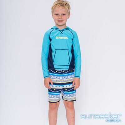 澳洲Sunseeker抗UV防曬長袖泳衣+泳褲-小男童連帽兩件式泳衣組/海軍淺藍