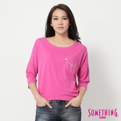 SOMETHING 亮眼個性寬版T恤-女-桃紅色