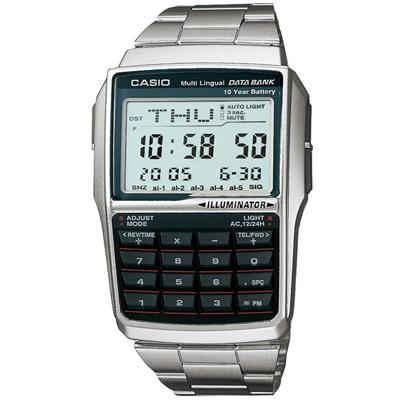 CASIO 行動祕書不鏽鋼計算機錶(DBC-32D-1A)-37.4mm