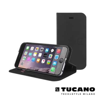 TUCANO iPhone6 Plus (5.5吋) 髮絲紋側掀可站立式皮套