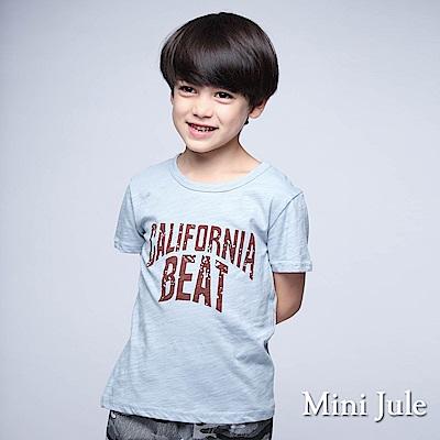 Mini Jule上衣 弧形字母竹節棉短袖T恤(藍)