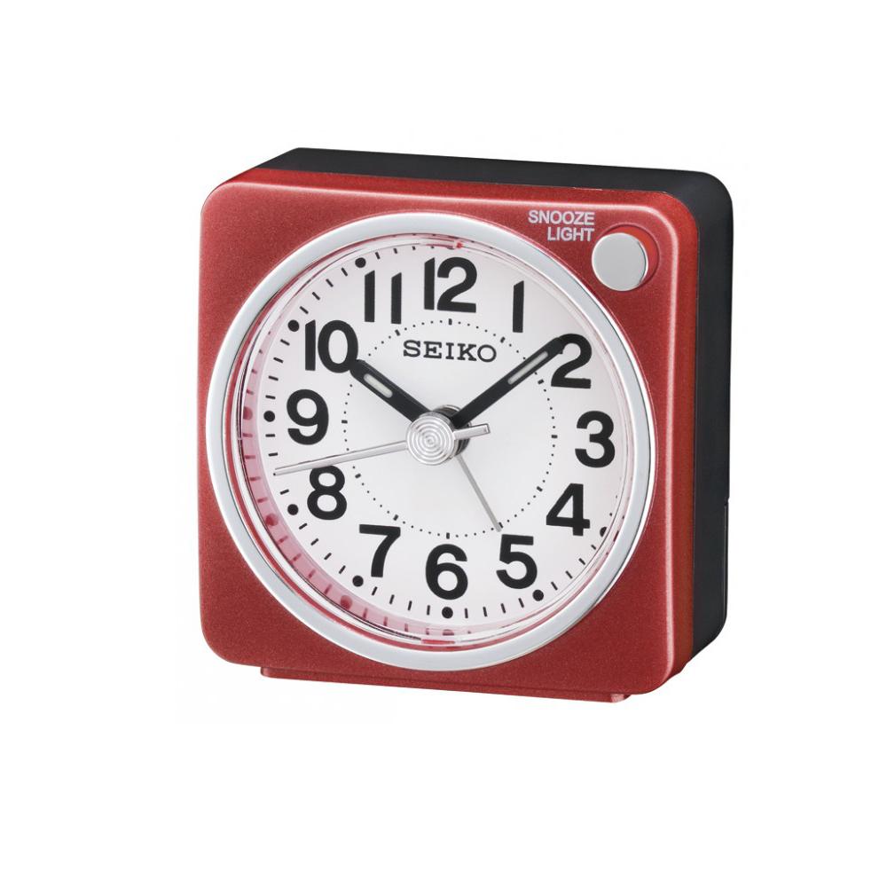 SEIKO 精工 嗶嗶聲 靜音 貪睡鬧鐘(QHE118R)-紅/5.8X5.7cm