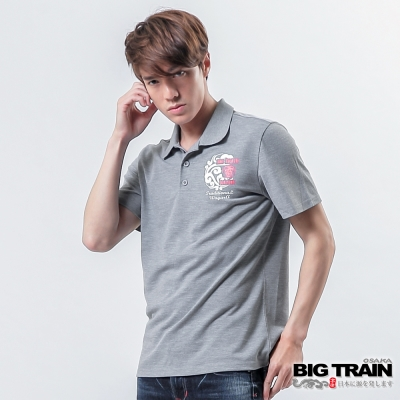 BIG TRAIN 雷神雙鯉魚POLO衫-男-灰色