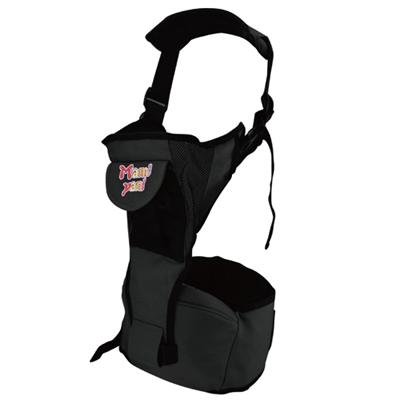 多功能抱嬰腰帶坐椅-腰凳-附可拆式護嬰托背帶-黑色