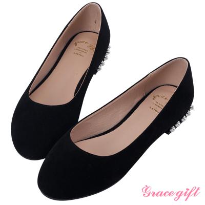 Grace gift-珍珠飾小圓頭娃娃平底鞋 黑