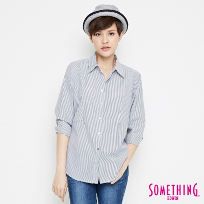 SOMETHING 都會簡潔直條襯衫-女-黑色