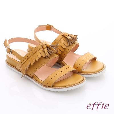 effie 個性涼夏 流蘇真皮輕量軟Q涼鞋 黃色