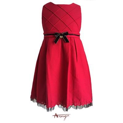 Annys氣質格紋線條設計蕾絲網紗擺洋裝*5240紅