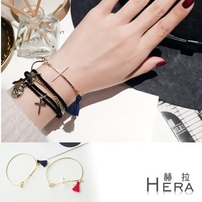 Hera 赫拉 金屬十字架次流蘇手環/手鐲/手鏈二色(藍色)