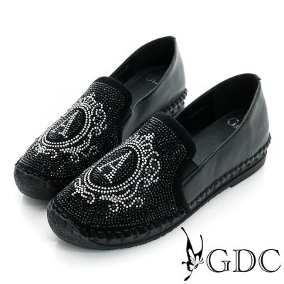 GDC舒適-A字水鑽厚底真皮懶人休閒鞋-黑色