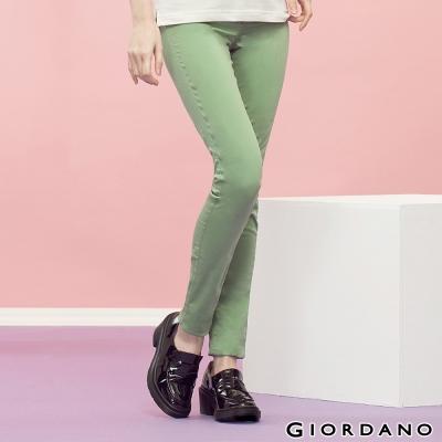 GIORDANO-女裝中腰輕磨毛修身窄腳褲-55草綠