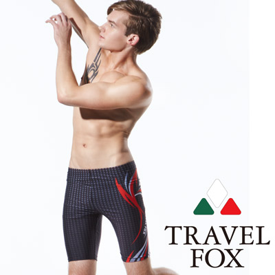 TRAVELFOX 旅狐 男泳褲七分 鐵灰色格紋
