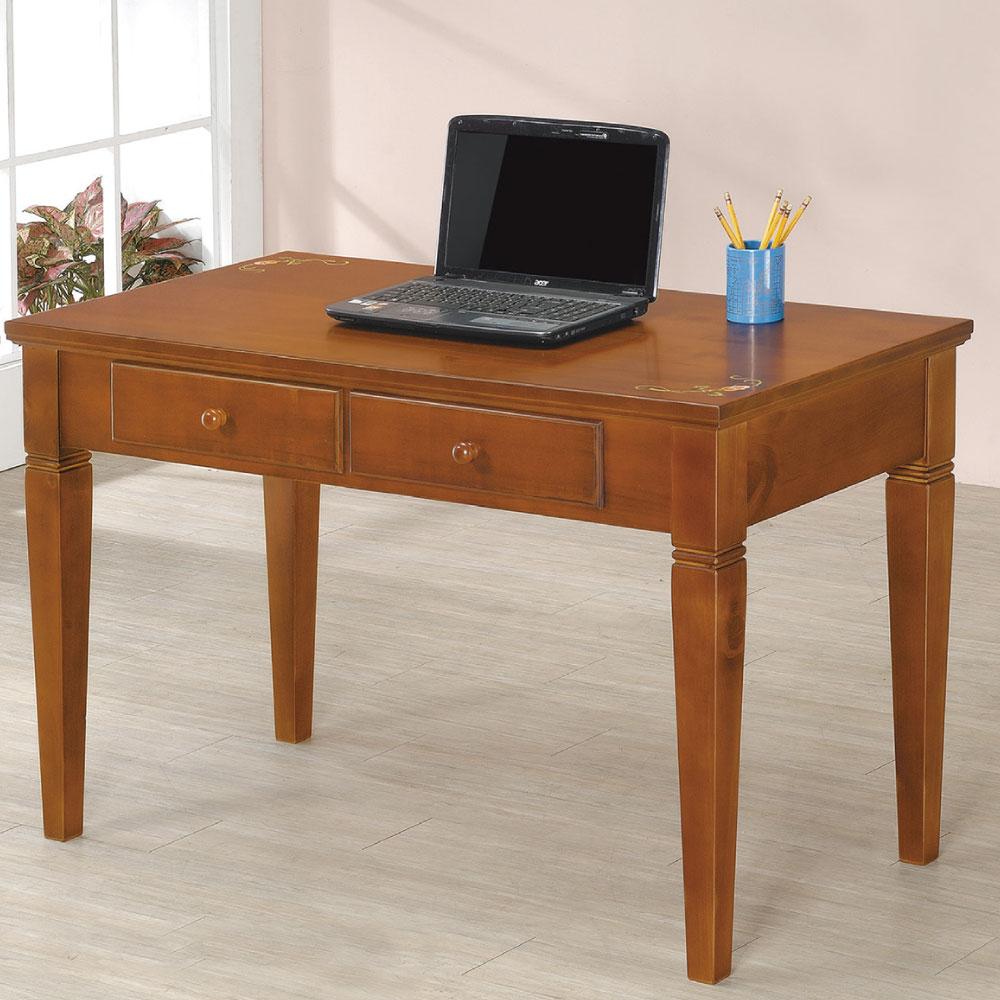 品家居 維納斯4尺實木彩繪二抽書桌