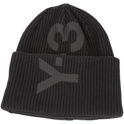 Y-3 LOGO BEANIE 品牌標誌羅紋針織帽(黑色)
