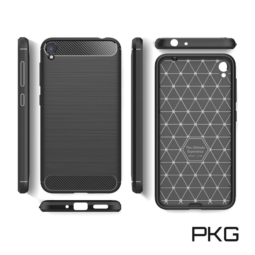PKG  ASUS Zenfone Live ZB501KL 抗震防摔手機殼-碳纖維紋-黑
