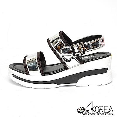 AIRKOREA-韓國空運皮革質感雙色休閒金屬扣環