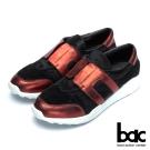 bac經典品味 異材質拼接真皮休閒鞋-紅黑