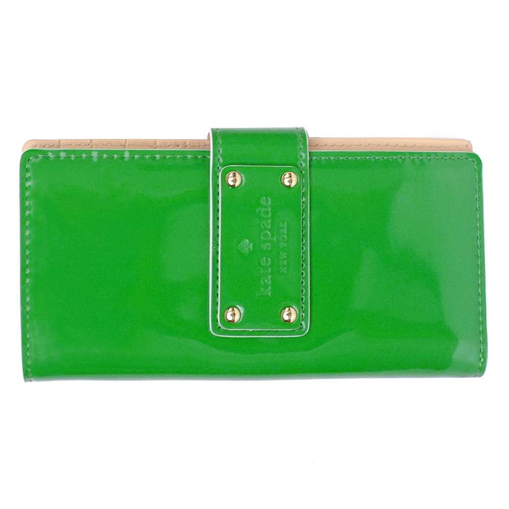 kate spade綠色漆皮皮革雙折支票卡片夾