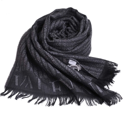 VALENTINO 時尚斷字風格字母LOGO高質感羊毛圍巾(灰)
