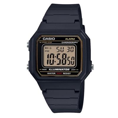 CASIO復古方款造型超實用數位休閒錶-藍框W-217H-9A 41mm