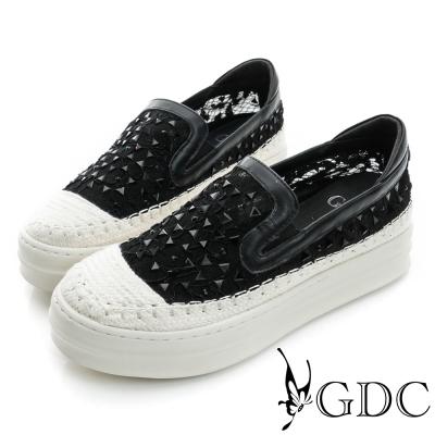 GDC-舒適三角水鑽蕾絲真皮厚底懶人休閒鞋-黑色