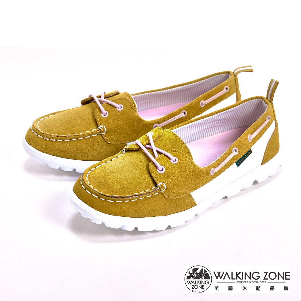 【WALKING ZONE】麂皮輕量大底懶人女鞋-芥黃