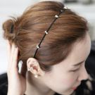 Hera赫拉 韓款氣質綴鑽珍珠細版頭箍/髮箍(三色)
