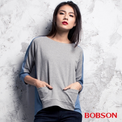 BOBSON  女款異素材上衣-灰色