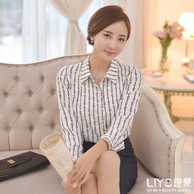 LIYO理優上衣圈圈條紋襯衫(白)