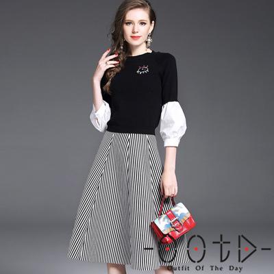 撞色拼接毛衣+條紋半身裙兩件套 (黑色+條紋)-OOTD
