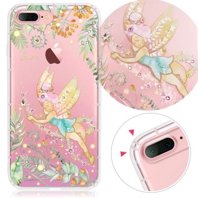 YOURS APPLE iPhone 7+ 奧地利水晶彩繪防摔貼鑽手機殼-綠仙子