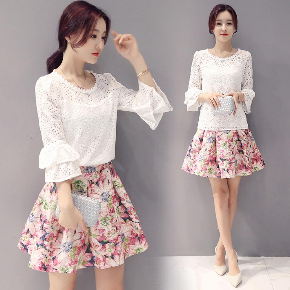 韓版時尚中袖印花裙兩件套裝M~XL-REKO
