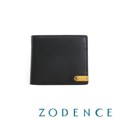 ZODENCE MAN 義大利牛皮系列低調配色LOGO三折短夾 黑
