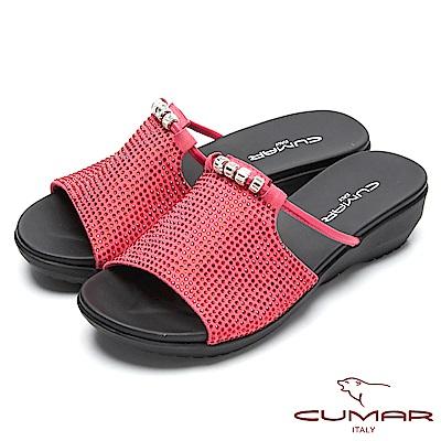 CUMAR閃亮造型-大面積水鑽裝飾真皮拖鞋-紅色