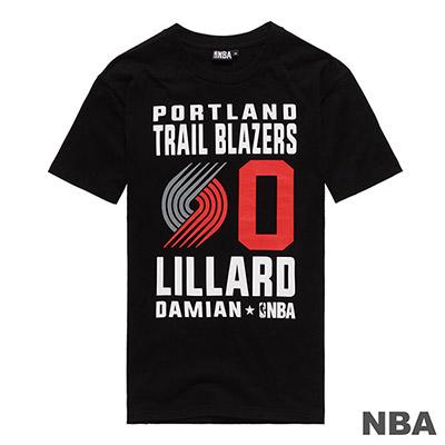 NBA Damian Lillard拓荒者隊經典背號滿版印花短T-黑 (男)