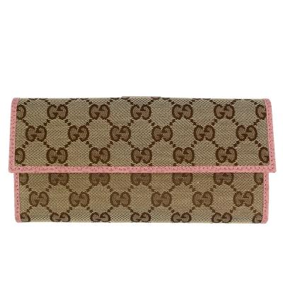 GUCCI 雙G緹花布粉紅色真皮飾邊前後蓋長夾