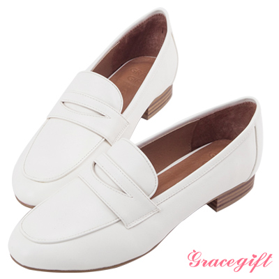 Grace gift-經典素面皮革樂福鞋 白