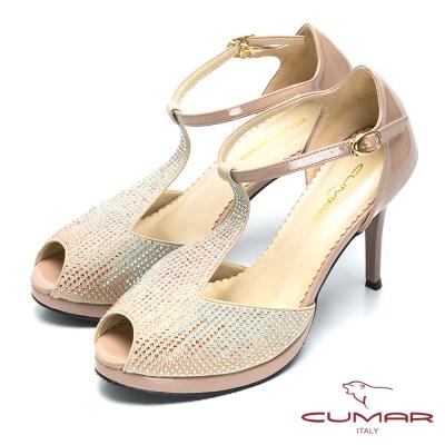 CUMAR奢華時尚-滿天星晚宴高跟鞋-米金色