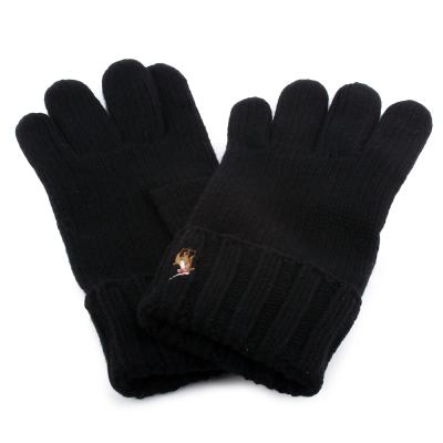 RALPH LAUREN POLO 小馬刺繡LOGO素面反摺羊毛手套-黑色