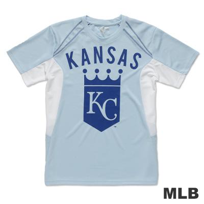 MLB-堪薩斯城皇家隊修身撞色T恤-淺藍(男)