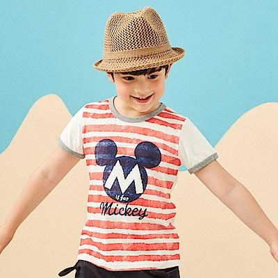 Disney 米奇系列夏日條紋圓領上衣 (共2色)