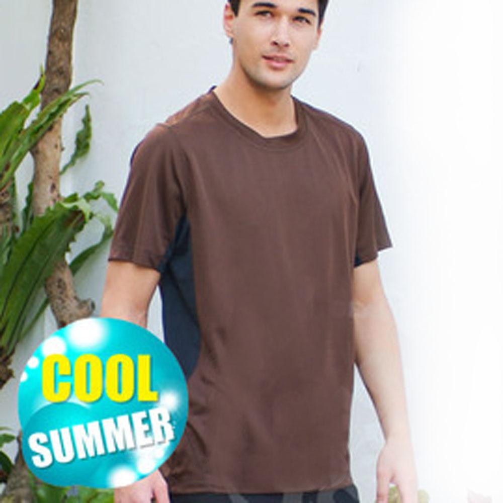 【瑞多仕】男款 COOLMAX 休閒圓領T恤_DB8451 褐色 V1