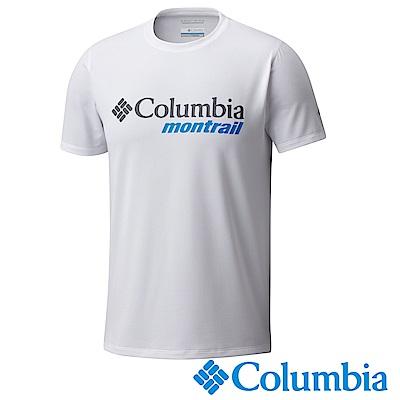 Columbia哥倫比亞 男款-野跑防曬30短袖上衣-白色 UXE00080WT