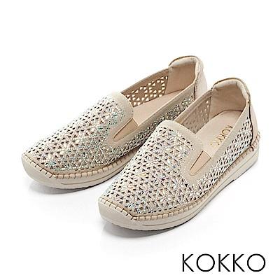 KOKKO - 輕奢鏤空圖騰厚底休閒鞋-簡約米