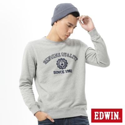EDWIN-大E貼布圓領長袖T恤-男款-麻灰