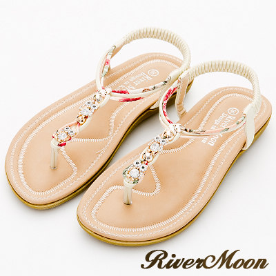 River&Moon大尺碼-沁涼晶鑽貓頭鷹編織花布T字涼鞋-米白