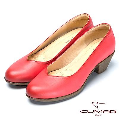 CUMAR氣墊大底-嚴選真皮氣墊高跟鞋-紅色
