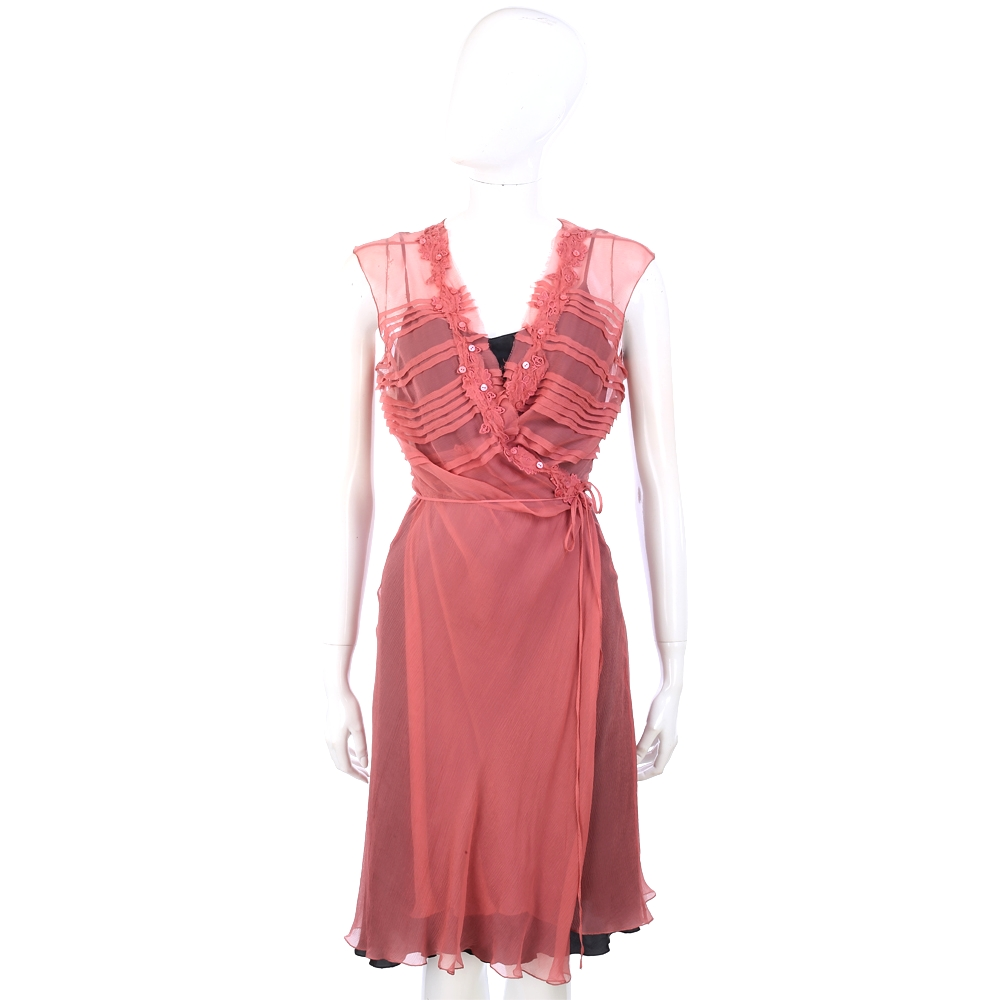 PHILOSOPHY 粉紅色抓摺綁帶紗質無袖洋裝(附綁帶)